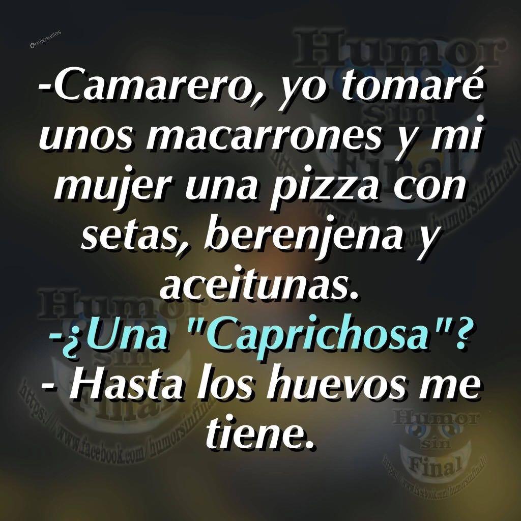 Camarero Yo Tomaré Unos Macarrones Y Mi Mujer Una Pizza